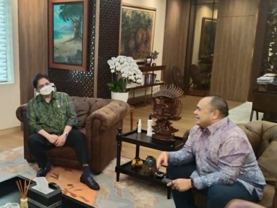 Pandu Sjahrir bertemu dengan Menteri Koordinator Bidang Perekonomian RI, Airlangga Hartato